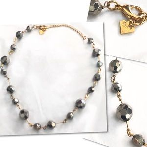 GOLD PEWTER FACETED BEADED NECKLACE